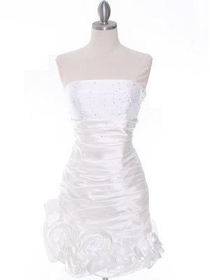 Off White Strapless Pleated Cocktail Dress - Front Image