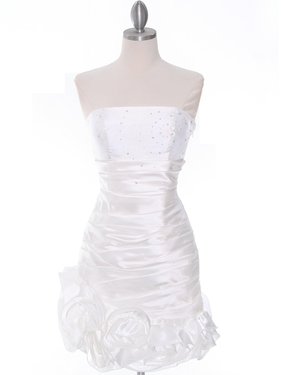 3158 Off White Strapless Pleated Cocktail Dress - Off White, Front View Medium