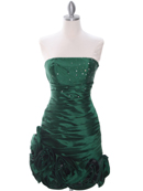 Olive Strapless Pleated Cocktail Dress