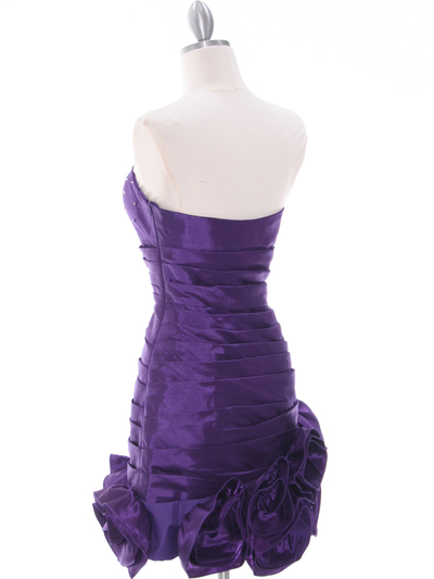 3158 Purple Strapless Pleated Bridesmaid Dress - Purple, Back View Medium