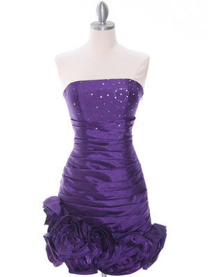 3158 Purple Strapless Pleated Bridesmaid Dress, Purple