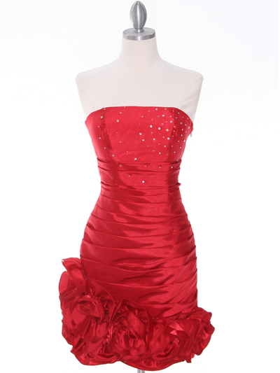 3158 Red Strapless Pleated Cocktail Dress - Red, Front View Medium