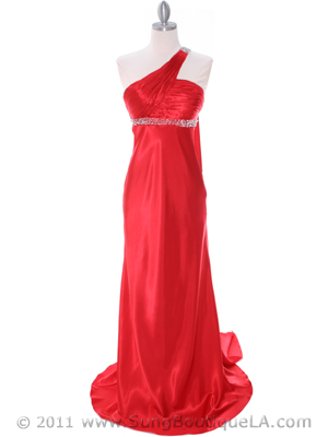 3162 Red Charmeuse One Shoulder Evening Dress, Red
