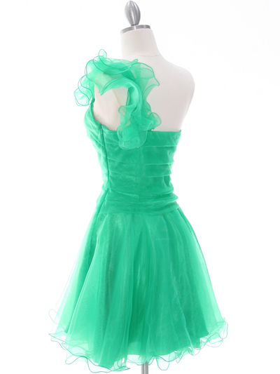 3168 Green One Shoulder Homecoming Dress - Green, Back View Medium