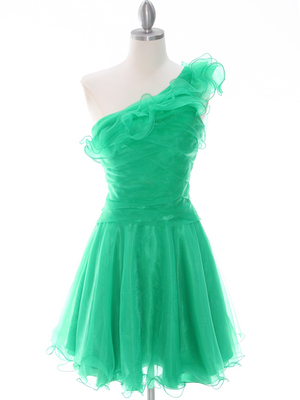 3168 Green One Shoulder Homecoming Dress, Green