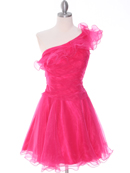 Fuschia One Shoulder Homecoming Dress