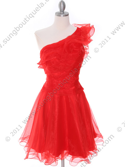 3168 Red One Shoulder Cocktail Dress - Red, Front View Medium