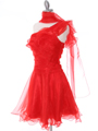 3168 Red One Shoulder Cocktail Dress - Red, Alt View Thumbnail