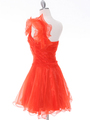 3168 Tangerine One Shoulder Homecoming Dress - Tangerine, Back View Thumbnail