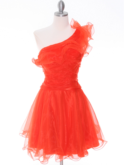 3168 Tangerine One Shoulder Homecoming Dress - Tangerine, Front View Medium