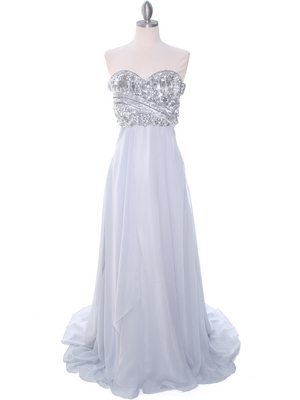 Silver Sequins Evening Dress - Front Image