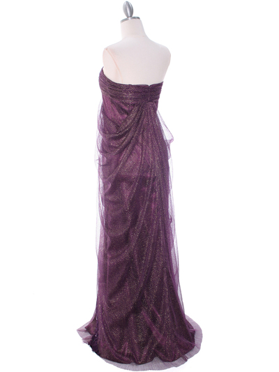 3181 Eggplant Lace Strapless Evening Dress - Eggplant, Back View Medium