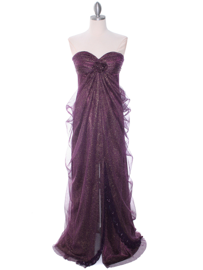3181 Eggplant Lace Strapless Evening Dress - Eggplant, Front View Medium