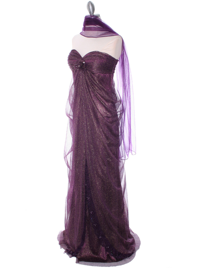 3181 Eggplant Lace Strapless Evening Dress - Eggplant, Alt View Medium