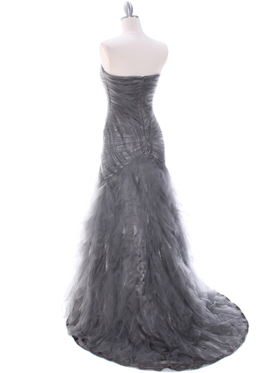 3182 Grey Evening Dress - Grey, Back View Medium