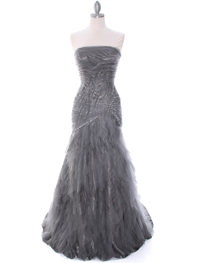 3182 Grey Evening Dress - Grey, Front View Medium