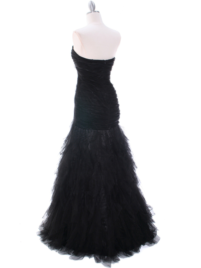 3183 Black Lace Evening Dress - Black, Back View Medium