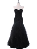 3183 Black Lace Evening Dress, Black