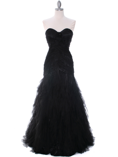 3183 Black Lace Evening Dress - Black, Front View Medium
