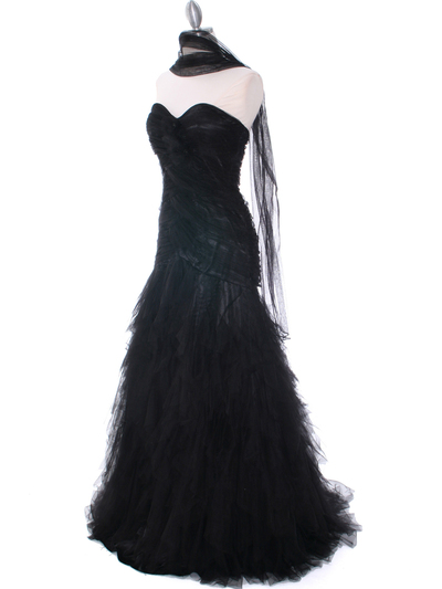 3183 Black Lace Evening Dress - Black, Alt View Medium