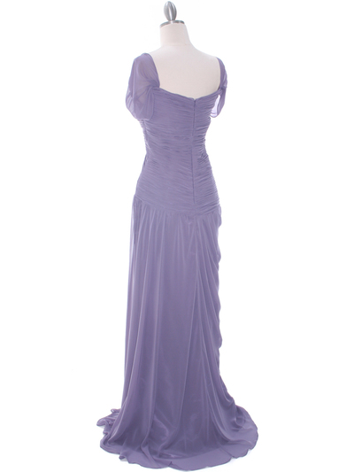 3198 Plum Chiffon Evening Dress - Plum, Back View Medium