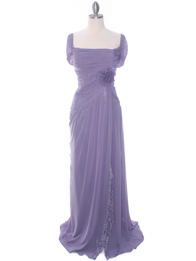 3198 Plum Chiffon Evening Dress - Plum, Front View Medium