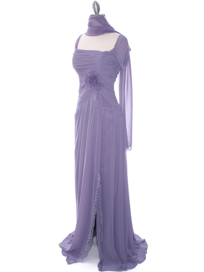 3198 Plum Chiffon Evening Dress - Plum, Alt View Medium