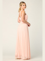 3206 Twisted Halter Neck Stretch Chiffon Bridesmaid Dress - Blush, Back View Thumbnail