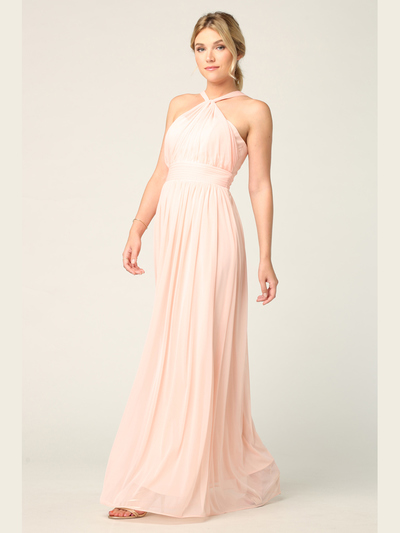 3206 Twisted Halter Neck Stretch Chiffon Bridesmaid Dress - Blush, Front View Medium