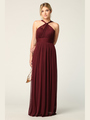 3206 Twisted Halter Neck Stretch Chiffon Bridesmaid Dress - Burgundy, Front View Thumbnail