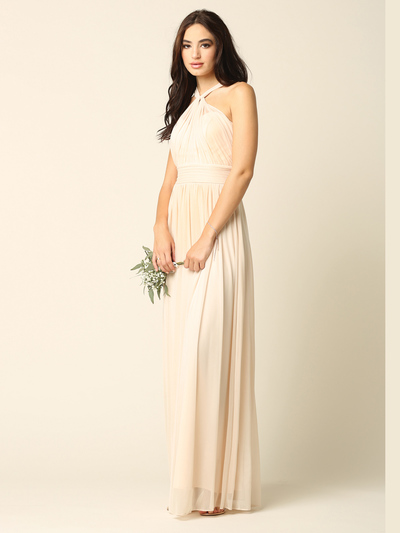 3206 Twisted Halter Neck Stretch Chiffon Bridesmaid Dress - Champagne, Front View Medium