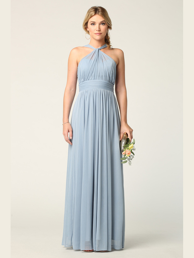 3206 Twisted Halter Neck Stretch Chiffon Bridesmaid Dress - Dusty Blue, Front View Medium
