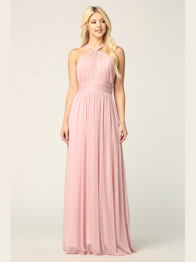 3206 Twisted Halter Neck Stretch Chiffon Bridesmaid Dress - Dusty Rose, Front View Medium
