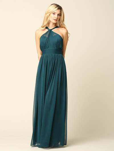 3206 Twisted Halter Neck Stretch Chiffon Bridesmaid Dress - Hunter Green, Front View Medium