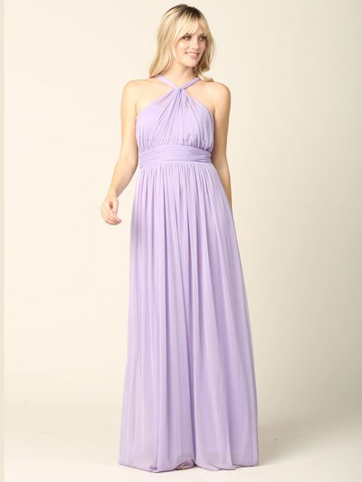 3206 Twisted Halter Neck Stretch Chiffon Bridesmaid Dress - Lilac, Front View Medium