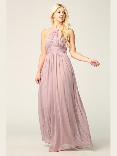 3206 Twisted Halter Neck Stretch Chiffon Bridesmaid Dress - Mauve, Front View Medium