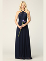 3206 Twisted Halter Neck Stretch Chiffon Bridesmaid Dress - Navy, Front View Thumbnail