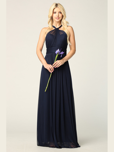 3206 Twisted Halter Neck Stretch Chiffon Bridesmaid Dress - Navy, Front View Medium