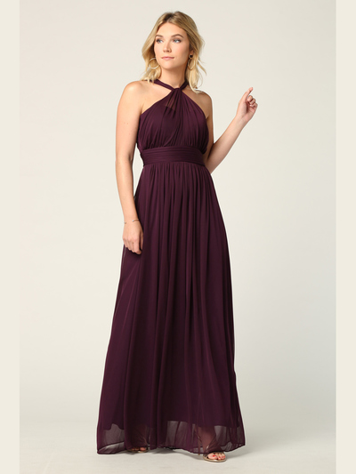 3206 Twisted Halter Neck Stretch Chiffon Bridesmaid Dress - Plum, Front View Medium