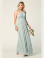 3206 Twisted Halter Neck Stretch Chiffon Bridesmaid Dress - Sage, Front View Thumbnail