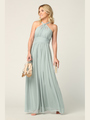 3206 Twisted Halter Neck Stretch Chiffon Bridesmaid Dress - Sage, Back View Thumbnail