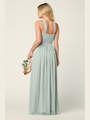 3206 Twisted Halter Neck Stretch Chiffon Bridesmaid Dress - Sage, Alt View Thumbnail