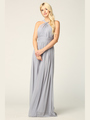 3206 Twisted Halter Neck Stretch Chiffon Bridesmaid Dress - Silver, Front View Thumbnail