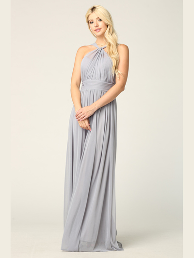 3206 Twisted Halter Neck Stretch Chiffon Bridesmaid Dress - Silver, Front View Medium