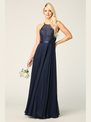 3216 Lace Halter Cross Back Chiffon Dress, Navy