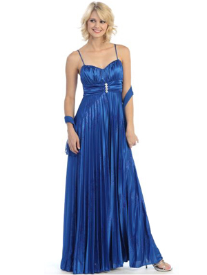 3234 Pleated Shimmer Sweetheart Evening Dress, Royal Blue