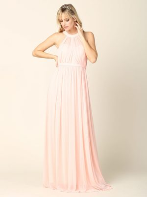 3252 Stretch Chiffon Halter Bridesmaid Dress, Blush