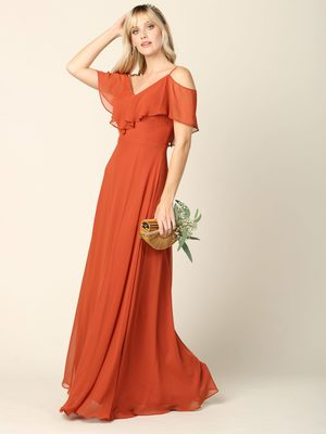 3263 Convertible Ruffle Top Off Shoulder Bridesmaid Dress, Rust