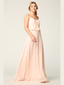 3318 Spaghetti Strap Blouson Top Bridesmaid Dress - Blush, Front View Thumbnail