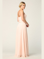 3318 Spaghetti Strap Blouson Top Bridesmaid Dress - Blush, Back View Thumbnail